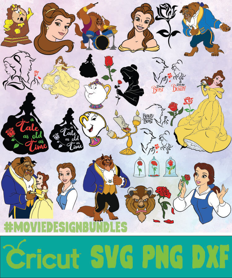 Beauty Beast Disney Bundle Svg Png Dxf Movie Design Bundles