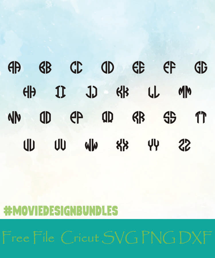 Circle Monogram 2 Letter Alphabet Letters Free Designs Svg Png Dxf For Cricut Movie Design Bundles