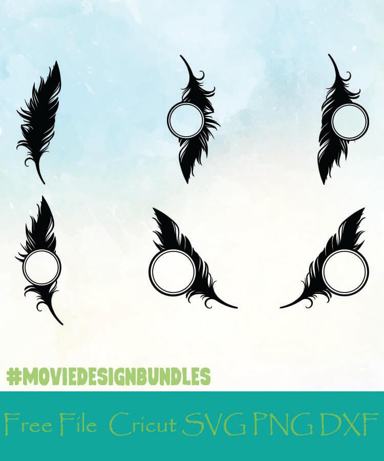 Feather Monogram Frames Free Designs Svg Png Dxf For Cricut Movie Design Bundles
