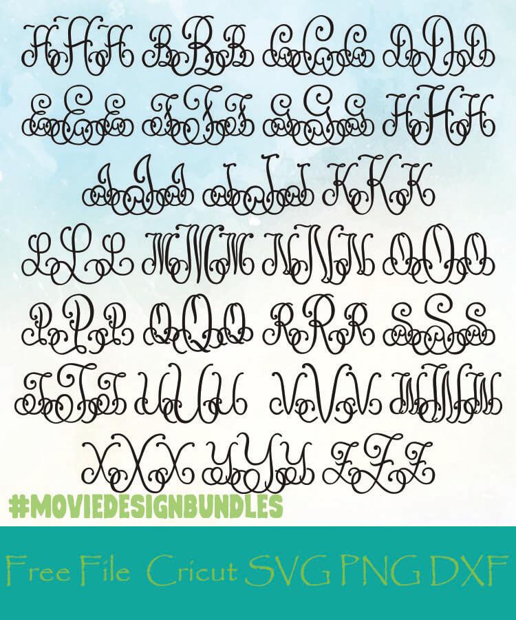Lace Monogram Alphabet Letters Free Designs Svg Png Dxf For Cricut Movie Design Bundles