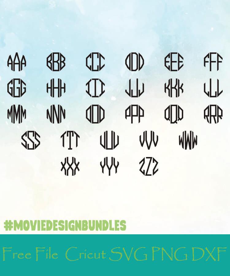 Octagon Monogram Alphabet Letters Free Designs Svg Png Dxf For Cricut Movie Design Bundles