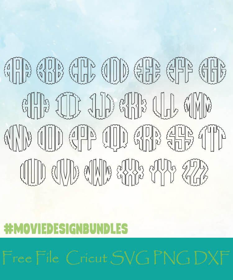 Outlined Scalloped Monogram Alphabet Letters Free Designs Svg Png Dxf For Cricut Movie Design Bundles