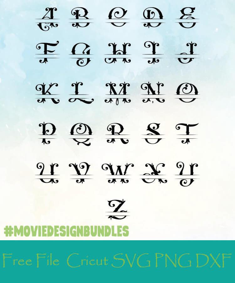 Split Monogram Alphabet Letters Free Designs Svg Png Dxf For Cricut Movie Design Bundles