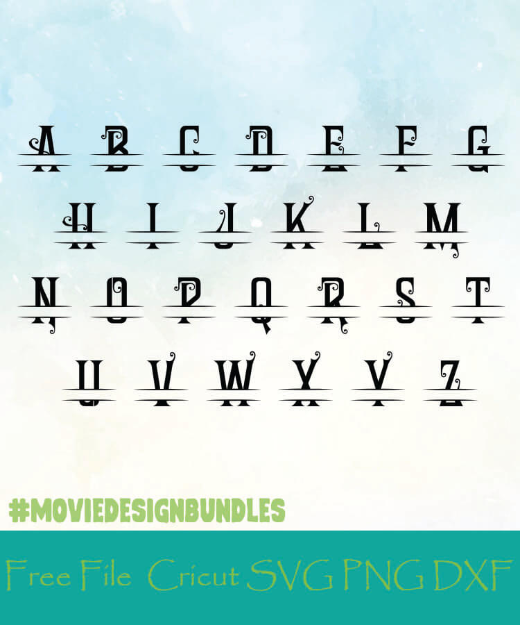 Split Monogram Alphabet Style 12 Free Designs Svg Png Dxf For Cricut Movie Design Bundles
