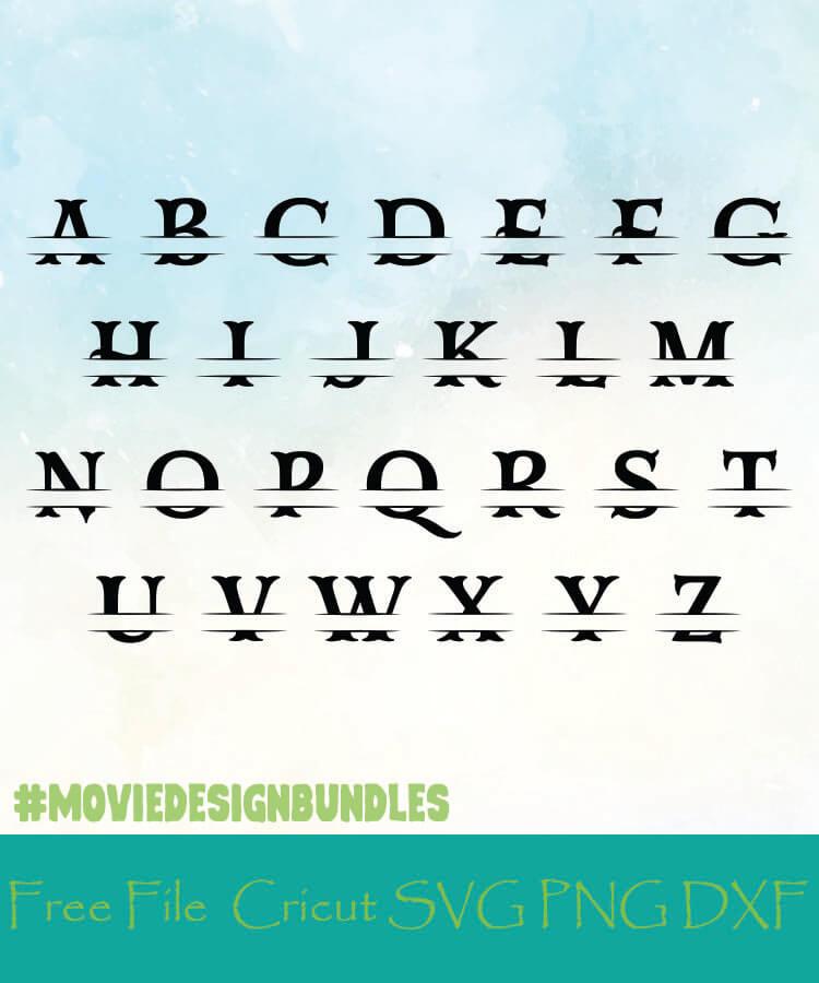 Split Monogram Alphabet Style 13 Free Designs Svg Png Dxf For Cricut Movie Design Bundles