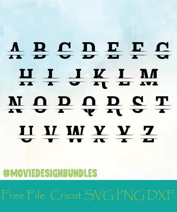Split Monogram Alphabet Style 16 Free Designs Svg Png Dxf For Cricut Movie Design Bundles