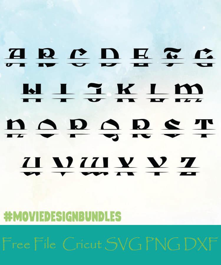 Split Monogram Alphabet Style 4 Free Designs Svg Png Dxf For Cricut Movie Design Bundles