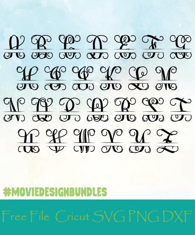 Split Vine Monogram Alphabet Letters Free Designs Svg Png Dxf For Cricut Movie Design Bundles