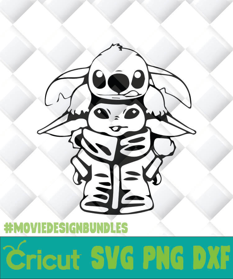 Baby Yoda And Stitch Outline Svg Png Dxf Clipart For Cricut Movie Design Bundles