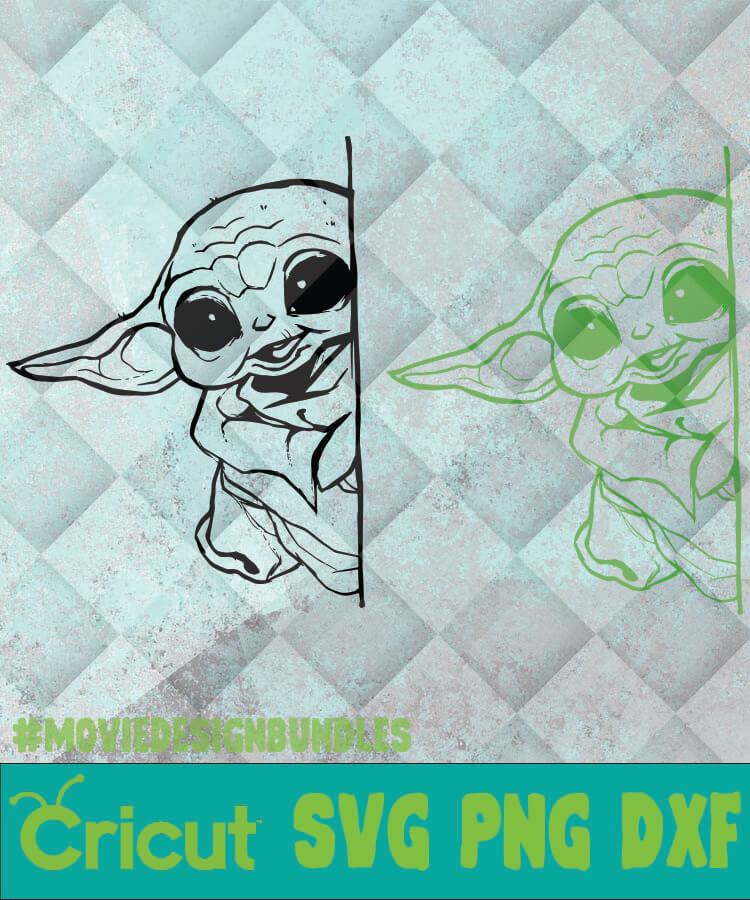 Baby Yoda Hiding Svg Png Dxf Clipart For Cricut Movie Design Bundles