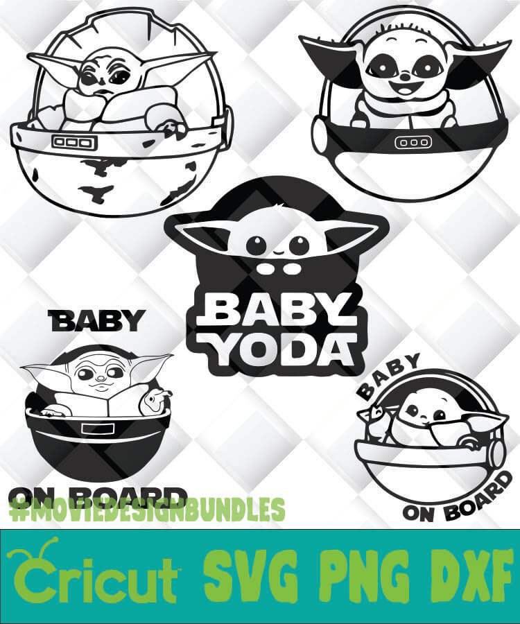 Baby Yoda On Board Outline Svg Png Dxf Clipart For Cricut Movie Design Bundles