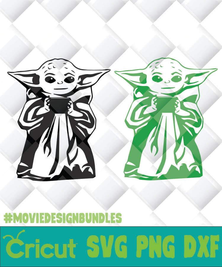 Green And Black Baby Yoda Holding Cup Svg Png Dxf Clipart For Cricut Movie Design Bundles