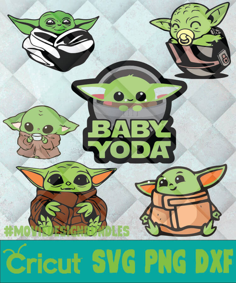 The Child Baby Yoda Color Svg Png Dxf Clipart For Cricut Movie Design Bundles